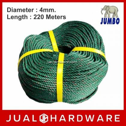 JUMBO 4mm Green PE Rope - 220 Meters Length (1.76kg)