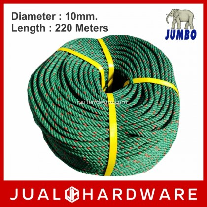 JUMBO 10mm Green PE Rope - 220 Meters Length (9.90kg)