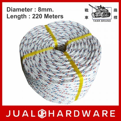 TANK 8mm White PP Denline Rope - 220 Meters Length (6.60kg)