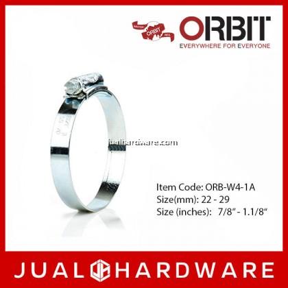ORBIT 304 Stainless Hose Clip W4 Size 1A 22mm - 29mm (10 pcs)