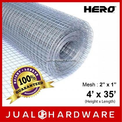 """HERO Galvanized Wire Welded Mesh 4' x 35' (Mesh 2"""" x 1"""")"""