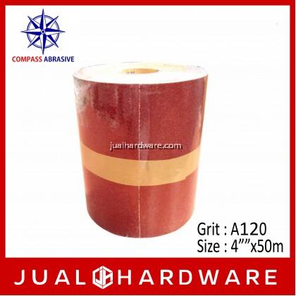 """COMPASS ALUMINA OXIDE (ROLL TYPE) KRAFT SANDPAPER - SIZE:4""""""""x50m GRIT:A120"""