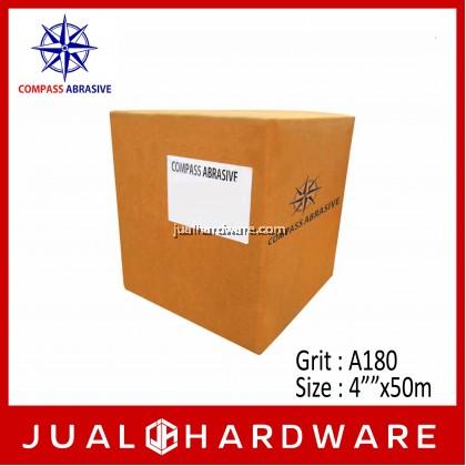 """COMPASS ALUMINA OXIDE (ROLL TYPE) KRAFT SANDPAPER - SIZE:4""""""""x50m GRIT:A180"""