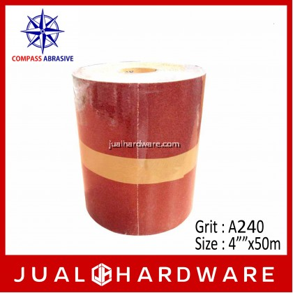 """COMPASS ALUMINA OXIDE (ROLL TYPE) KRAFT SANDPAPER - SIZE:4""""""""x50m GRIT:A240"""