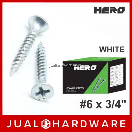HERO White Drywall Screws #6 x 3/4 Inches