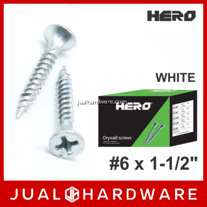 HERO White Drywall Screws #6 x 1-1/2 Inches