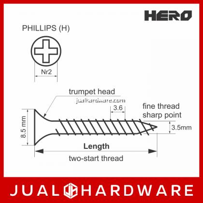 HERO Black Drywall Screws #6 x 2 Inches